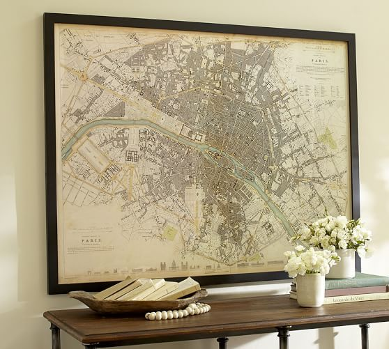 Vintage Inspired Paris Map Framed Print | Pottery Barn.  I just made one myself for around $40.00. Yay me!