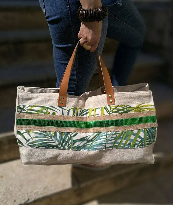 French made and handcrafted. XXL Collection pampas tote bag color ecru/green thick cotton canvas, cotton, burlap and lace sequin green carry band shoulders or hands. Accented with caramel color (size about 50 cm) leather handles attached by Golden rivets. Cotton lining with one large