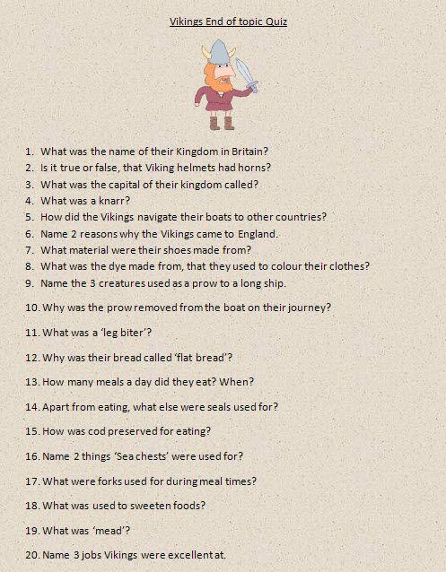 Vikings - end of topic quiz