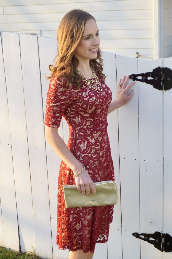 Ethically made in the USA red lace cocktail dress by Mikarose from The Flourish Market. Perfect holiday party dress! | Fairly Southern