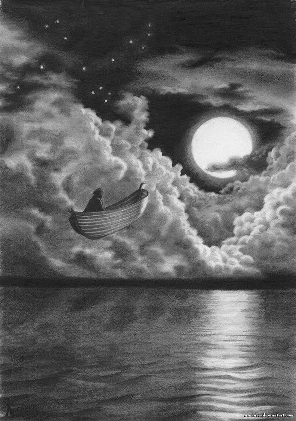 Boat Sailing in Sky, Amazing Pencil Drawings, http://hative.com/50-amazing-pencil-drawings/,