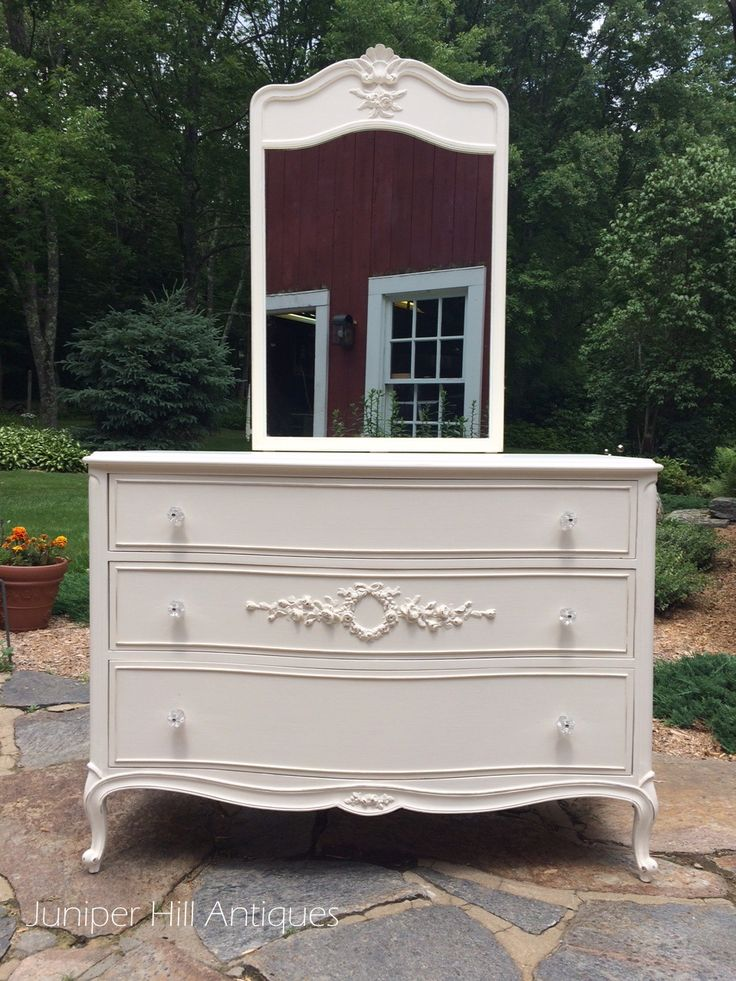 french provincial white painted dresser with mirror vintage painted furniture favorites from. Black Bedroom Furniture Sets. Home Design Ideas