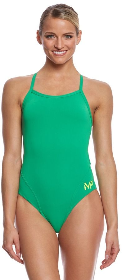MP Michael Phelps Women's Solid Mid Back One Piece Swimsuit 8159736