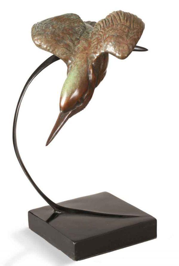 Bronze Birds Sculptures or statue by artist Bill Prickett titled: 'Diving Kingfisher (Flying bronze life size sculptures)'