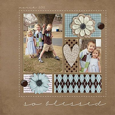 So Blessed Layout - art journal inspiration ... nice simple scrapbook page, beautiful colours :) Layout by Libby Pritchett of Sweet Shoppe Designs.