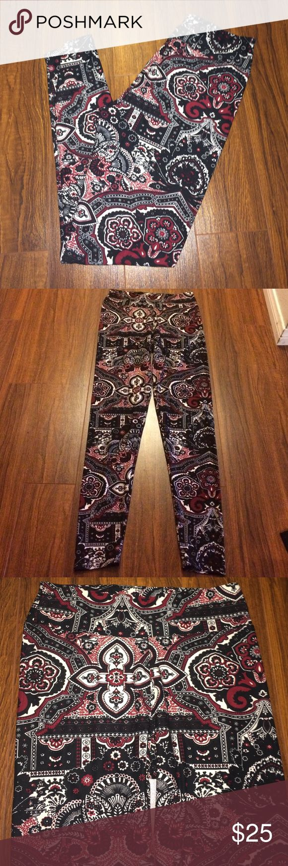 Mandala print bohemian buttery soft leggings Mandala print bohemian buttery soft leggings! Size large! (but super stretchy so can fit a larger or smaller sizes as well) amazing quality!!! Feel just like my Lularoe leggings!!! For half the price! Crazy soft! Brand NEW!!! Pants Leggings