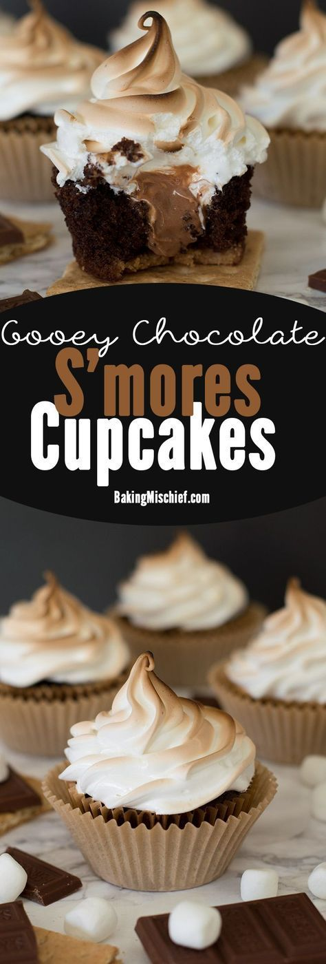 s'mores cupcakes: a graham cracker base, soft and decadent chocolate cake, gooey Hershey's chocolate buttercream center, and toasted marshmallow frosting
