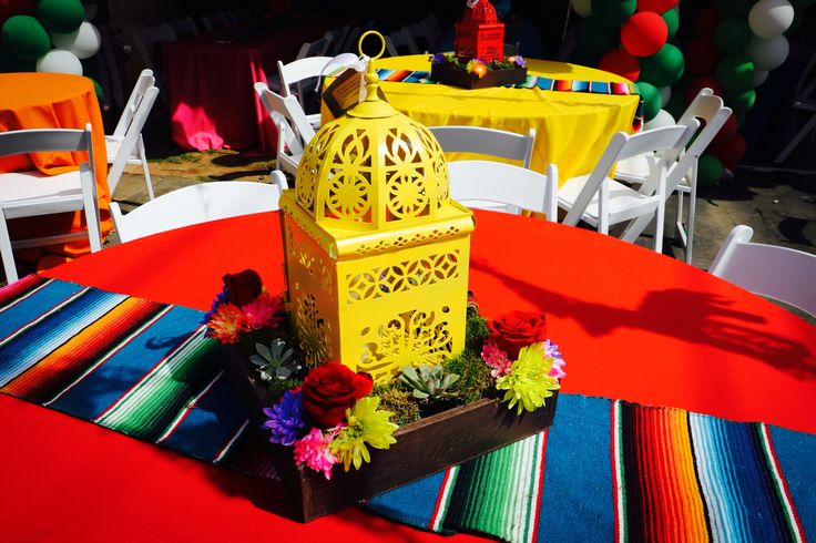 Fiesta centerpiece , Mexican centerpiece , lanterns , fiesta party , Mexican party , flowers , succulents , table covers , sarape runners