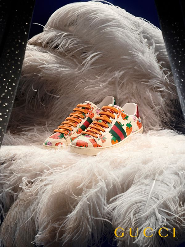 2200fa28a The Ace sneaker is revamped for Spring Summer 2019 with the season's Gucci  Strawberry print.
