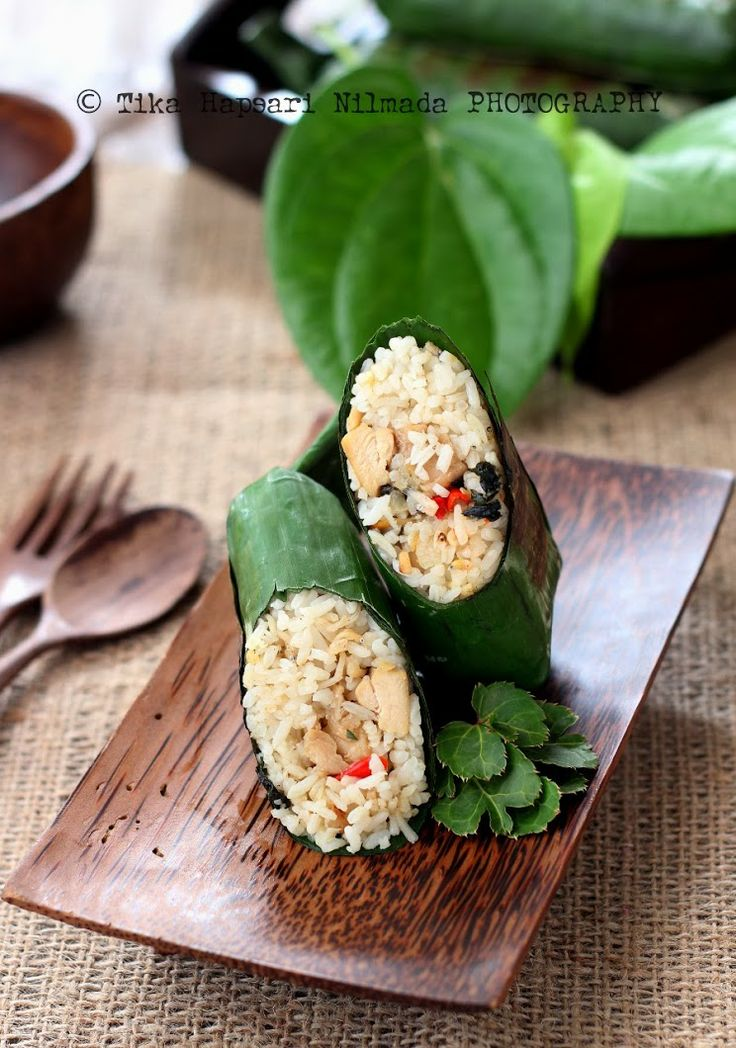 Grilled aromatic rice wrapped in banana leaves