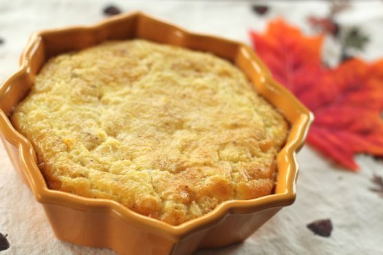 Pennsylvania Dutch Baked Corn Pudding - it's suggested to use whole milk and let firm 20 minutes before serving