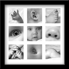 Focus on the little details of a baby and make a framed photo collage. ***
