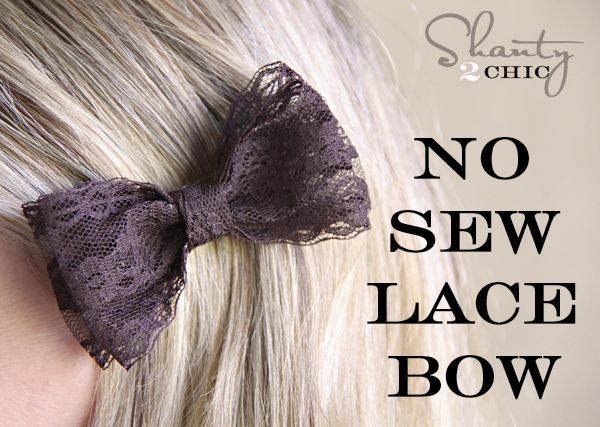 DIY No Sew Lace Bow for under $1!: Hairbows, Lace Hair, Diy Hair, Diy Lace, Hair Clips, Sewing Lace, Hair Bows, Lace Bows, Make Bows