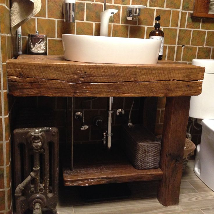 Hand Crafted Custom Wood Bath Vanity With Reclaimed Sink by MOSS ...