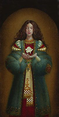 The White Fish.   by James C. Christensen  10 x 5     In Italy, the symbol of the fish represented Christ and was portrayed with reverence as we see in this painting.