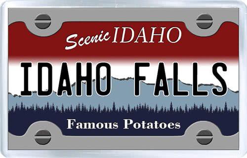 $3.29 - Acrylic Fridge Magnet: United States. License Plate of Idaho Falls Idaho