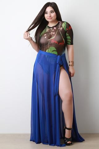 c71dc383b88 Semi-Sheer Mesh Self-Tie Cover Up Maxi Skirt   Unspecified List ...