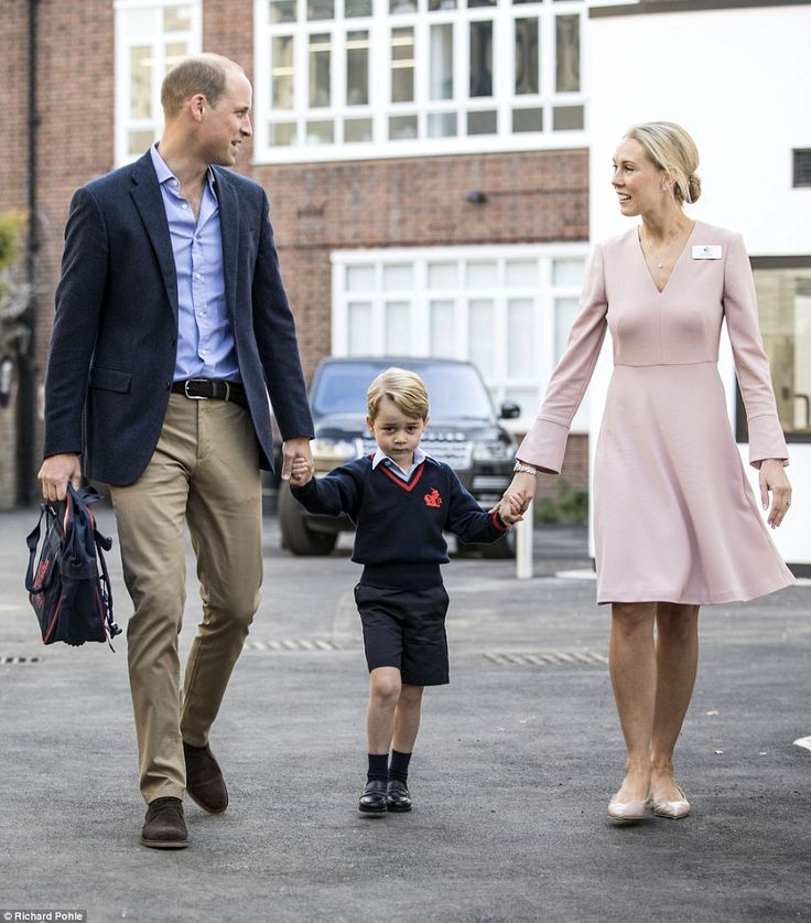 Prince George arrived for his first day at school this morning with only his father Prince William because his mother is cripped with morning sickness - they were greeted by Helen Haslem, head of the lower school