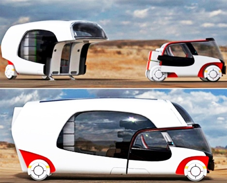 Concept RV with drive-away two seater mini car