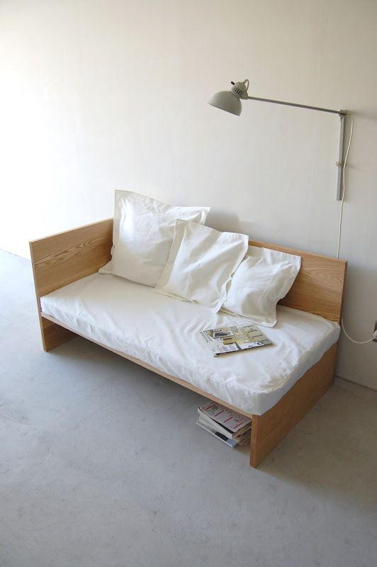 Simple sofa from NAUT furniture out of Japan. Relatively easy to make this yourself inexpensively. DIY.