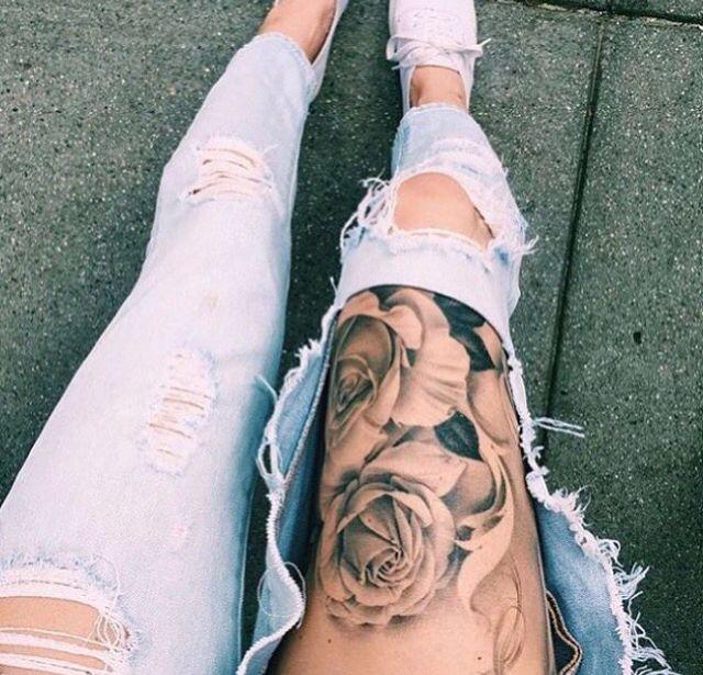 Rose thigh tattoo