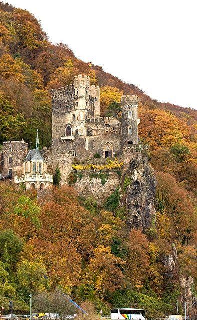The Castle Rheinstein, near the town of Trechtingshausen in Rhineland-Palatinate, German