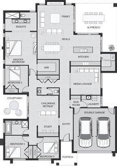 4 ch. Parfait si on transforme chambre 3 en bureau et si on met la cuisine à la place de la salle média.