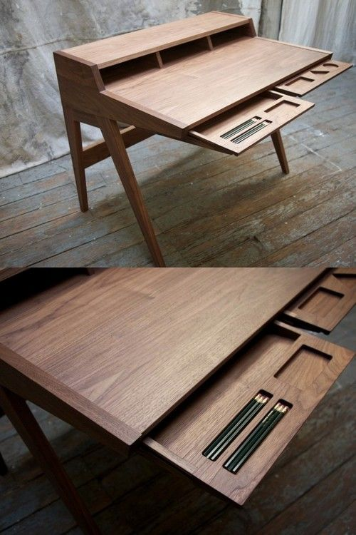 I think I love this big simple desk- who knows though, the two woods might be dazzling me.
