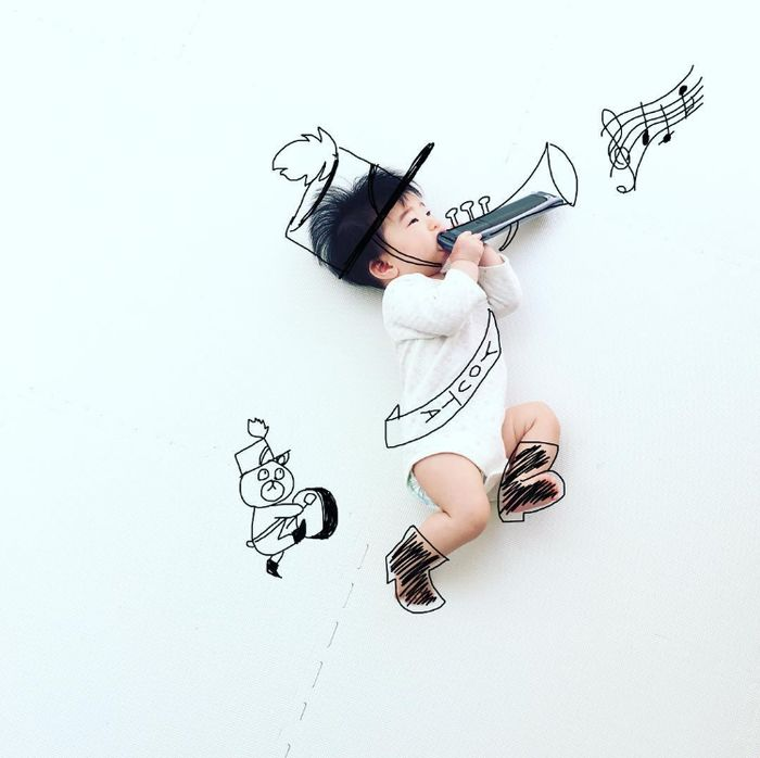 寝相アートに新ジャンル?インスタママが描く「寝相らくがきアート」の世界観が、好き♡の画像1