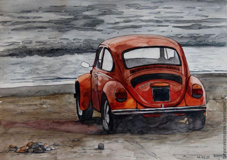 """Купить Акварельный пейзаж """"Перед грозой"""" - оранжевый, акварель, акварельная картина, акварельная живопись"""