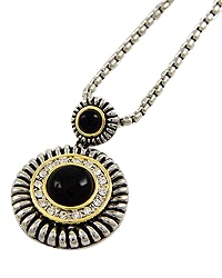 "15"" + EXT Black Clear Rhinestone Pendant Necklace Retail - $32.50 You Pay - $16.25 w/ free shipping in the US."
