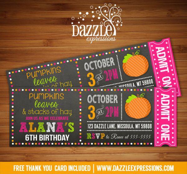 Printable Chalkboard Pumpkin Ticket Birthday Invitation