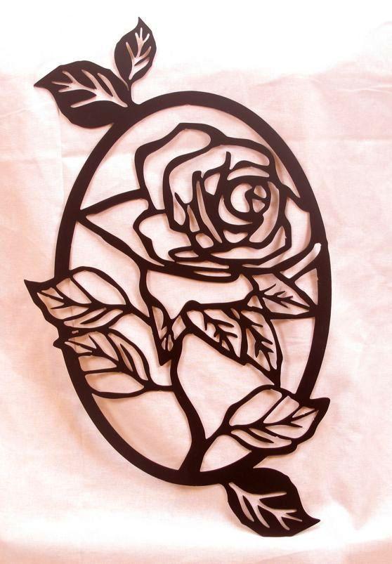 Arte de la pared Rosa Oval por BCMetalCraft en Etsy
