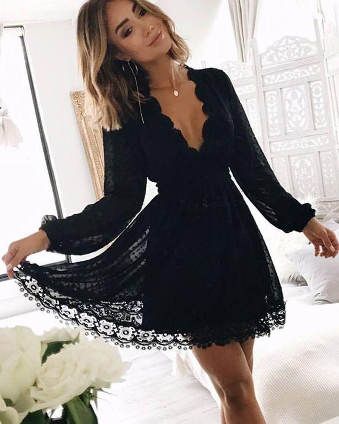 V-neck Black Lace Graduation Dress with Long Sleeves HD3059 5618f13b4