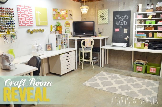 Craft Room Reveal - craft room in an unfinished basement | www.heartsandsharts.com