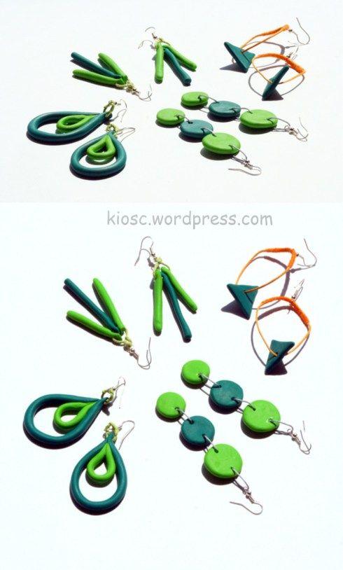 green fimo earings