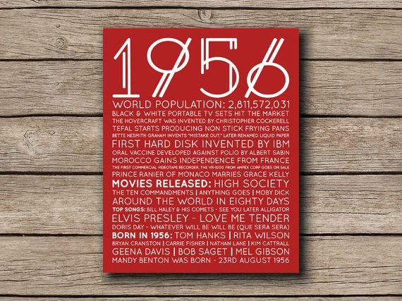1956 Printable Birthday or Anniversary by shopmarigoldlane
