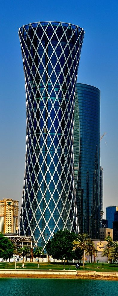 PURE GEOMETRISM IN ARCHITECTURE... Tornado Tower, Doha, Qatar designed by CICO Consulting Architects :: 51 floors, height 195m ☮k☮ #architecture