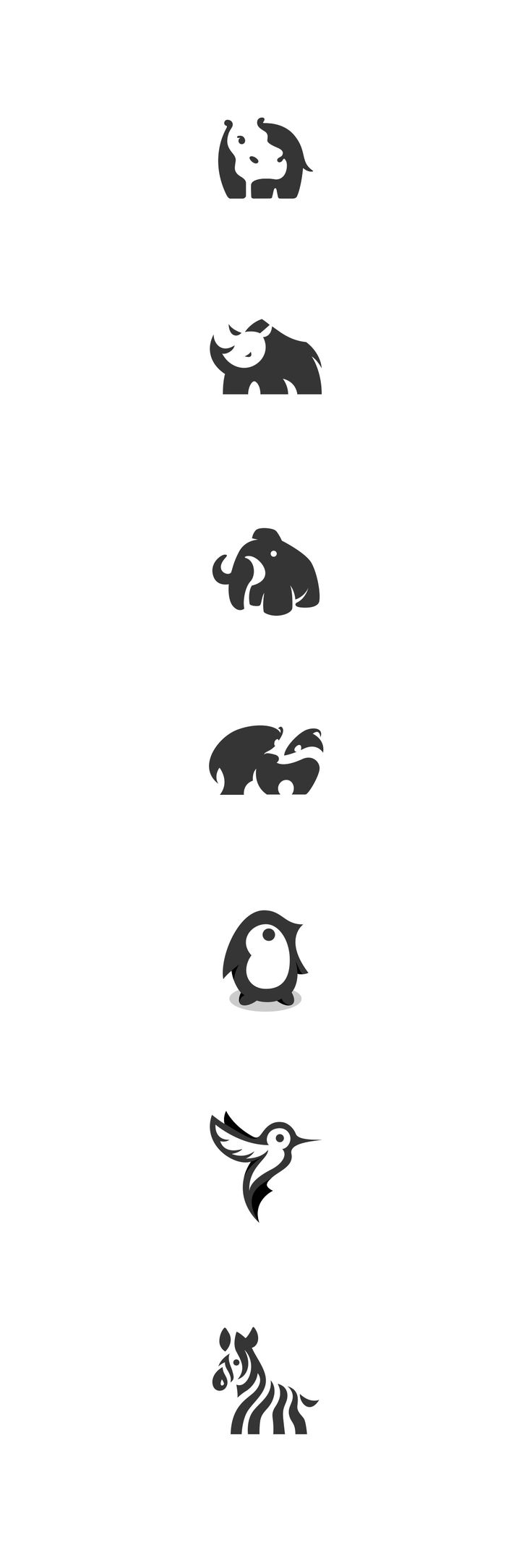 Here are some of my selected negative space animal logo designs. #negative space #logos #marks #logo #identity #animals #rhino #hippo #zebra #badger #illustration #graphic #kreatank