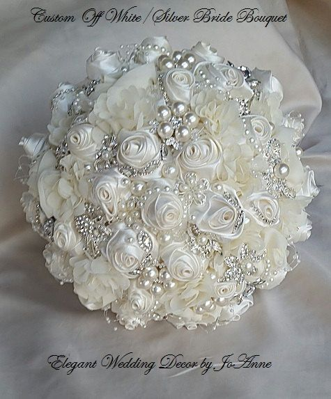 CUSTOM MADE TO ORDER GLAM 10 White Jeweled Wedding Bouquet - $495.00 (Full Price) - DEPOSIT = $295 - BALANCE= $200 - Due when Complete ____
