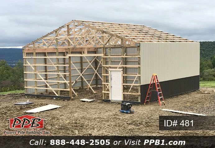 Pole Building Dimensions 36 W X 32 L X 12 4 H Id 481 36 Standard Trusses 4 On Center 4 12 Pitch Pole Buildings Residential Garage Doors Roof Trusses