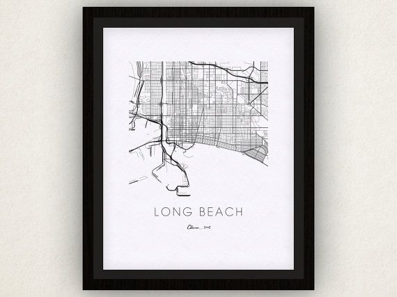 Long Beach Map Print by iLikeMaps on Etsy