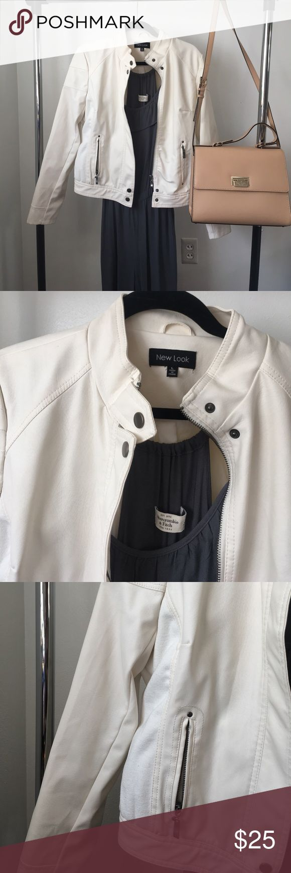 Fall 🍂 White Faux Leather Jacket This piece is perfect for wear with scarves and boots or a dress and heels! Works both ways!! Very very lightly used! Less than 5 wears on it!  Comes from a smoke free and pet free home! New Look Jackets & Coats