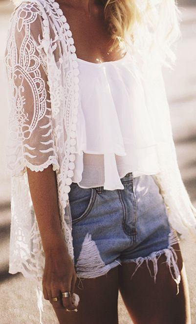 White crop-top with jean shorts and white cardigan