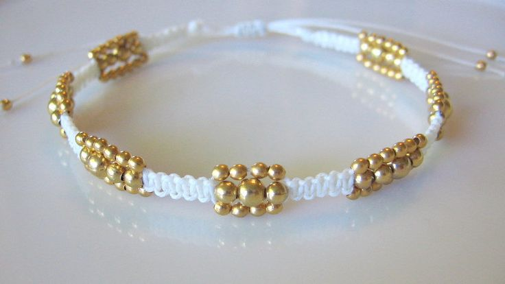 Macrame beaded bracelet  #handmade #jewelry