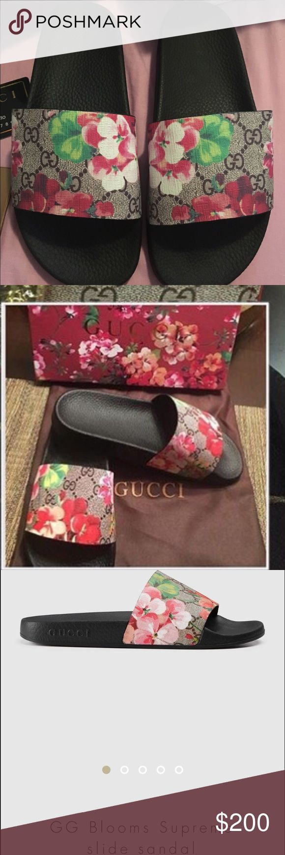 GG Blooms Supreme Slide Sandal Comfortable floral slide sandal perfect for a casual day out. Gucci Shoes Sandals