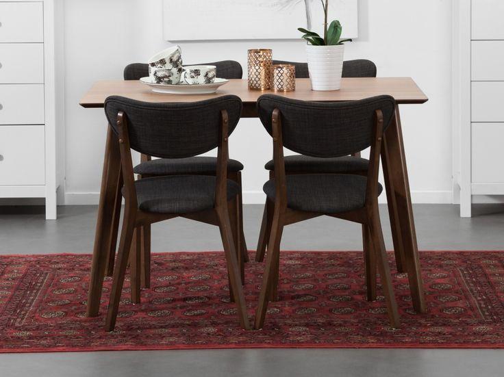 LUCY Bord 120 Valnöt + 4 Stolar Mörkgrå - snygga och prisvärda möbler för dig med förkärlek för retroinspirerad inredning.