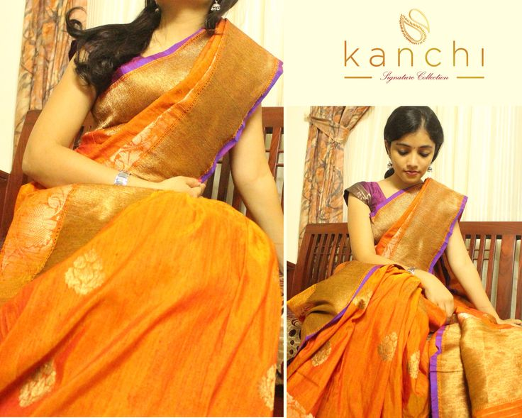Banaras orange mutka silk saree with antique gold motifs all over the body .  To place an order, drop us a email with relevant code at: email- kanchi.signature@gmail.com Whtsapp- 08089813556