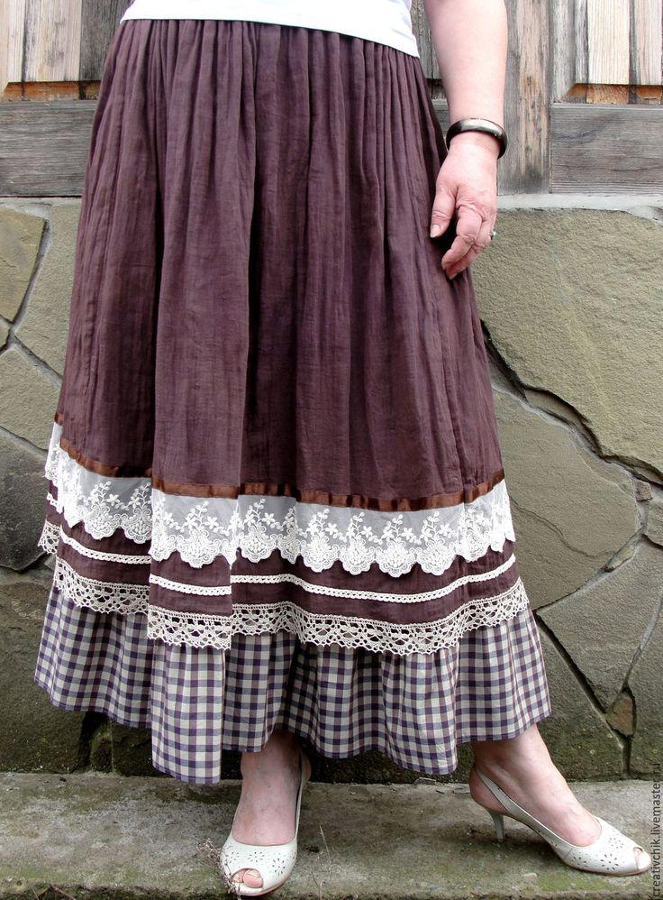Купить Летняя длинная юбка Бохо с клеточкой от Hugo Boss - юбка бохо стиль
