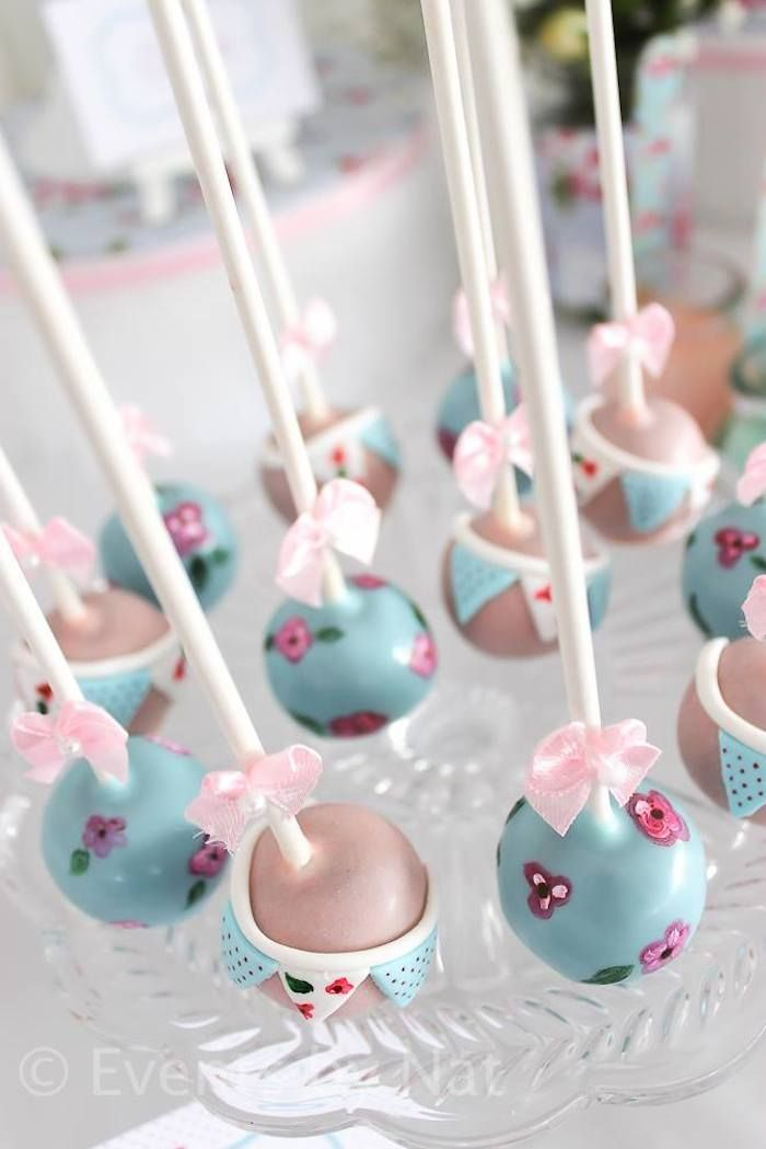 Cake Pops!!! Shabby Chic First Birthday Party-KarasPartyIdeas.com | | Be Inspirational ❥|Mz. Manerz: Being well dressed is a beautiful form of confidence, happiness & politeness
